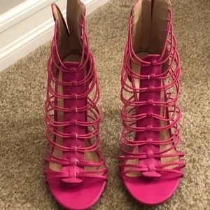 Never worn Super sexy hot  pink strappy heels.